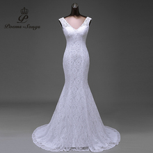 Free shipping lustrous satin and lace flowers very Sexy Backless mermaid Wedding Dresses vestidos de noiva robe de mariage(China)