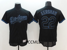 MLB Men's Los Angeles Dodgers 22 Kershaw Shadow Black Baseball Flex Base Authentic Collection Player Jersey(China)