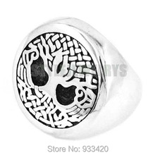 Great Life Tree Celtic Knot Ring Stainless Steel Jewelry Claddagh Style Motor Biker Life Tree Ring Wholesale SWR0383B(China)