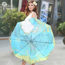 2016 Creative World Map Colour Changing Ultraviolet-Proof Umbrella Flowers Novelty Gift Three-Folding Umbrella Rain Women