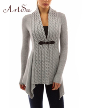 ArtSu 2017 Ladies' Sweater PU leather Sashes Knitted Knitwear Long Sleeve Sweaters Women Cardigan Slim Tops Clothing ASSW50017