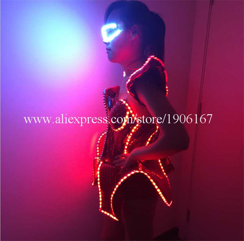 LED Lady Sexy Clothing Luminous Flashing Women Dress Costumes Suits Party Dance Accessories Event Party Supplies4
