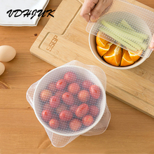 4pcs/set 2017 new Reusable Silicone Food Wrap Seal Vacuum Lid Stretch Multifunctional Food Fresh Keeping Saran Wrap Kitchen Tool