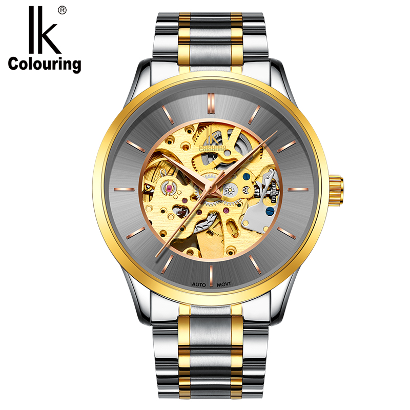 IK Classic Top Brand Automatic Self-Wind Watch Men Full Steel Tourbillon German Design Men Watches Natural Genuine Leather Watch<br>