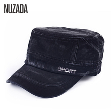Brand NUZADA 2017 Classic Unisex Flat Top Cap Military Hats For Men Women 100% Cotton Stitching Spring Summer Visor Hat pdd-003