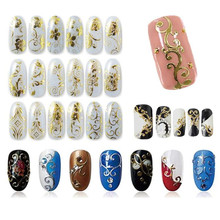 Different Style DIY Decoration Tools 108Pcs 3D Silver/Gold beautiful Nail Art Stickers Decals Stamping