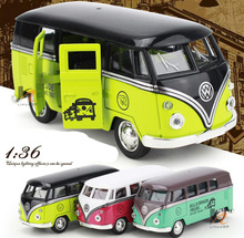 New Volkswagen Bus T1 1:36 Scale Bus Alloy Models Metal Vintage Classic Car Toys DIT CAST High Quality Alloy Kids Toys