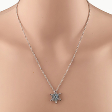 2015 Fashion Beauty Temperament Necklace Silver Color Snowflake Pendant Christmas Gift Sky Blue Collar Collier Rhinestone(China)