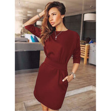2017 Summer Women Fashion Casual Mini Dress Half Quarter Sleeve Red&Black&Blue Sashes Dresses Plus Size Clothing