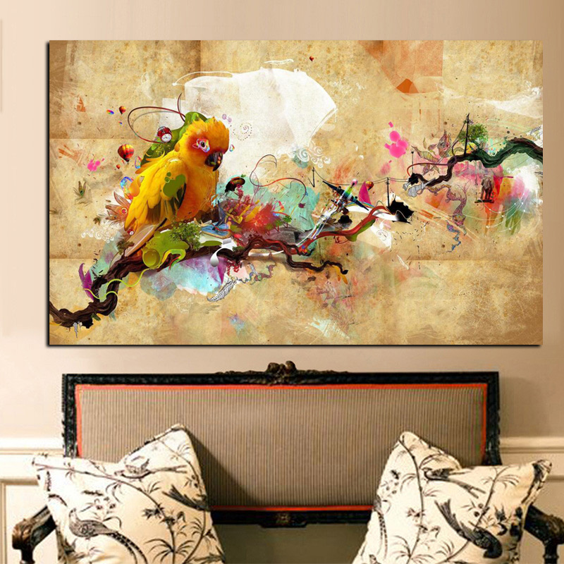 YWDECOR HD Print Artistic Paint Parrot Bird Oil Painting on Canvas Modern Abstract Wall Painting For Living Room Cuadros Decor (5)