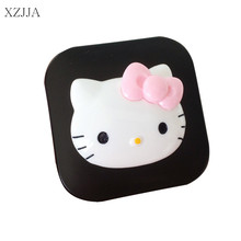 XZJJA New Women Contact Lenses Storage Box Cartoon KT Cat Contact lens Box Eyes Care Kit Holder Travel Washer Cleaner Container(China)
