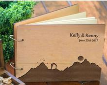 personalized Mountains alternative Rustic wedding guest album book engraved Wooden guestbooks Reception party decorations