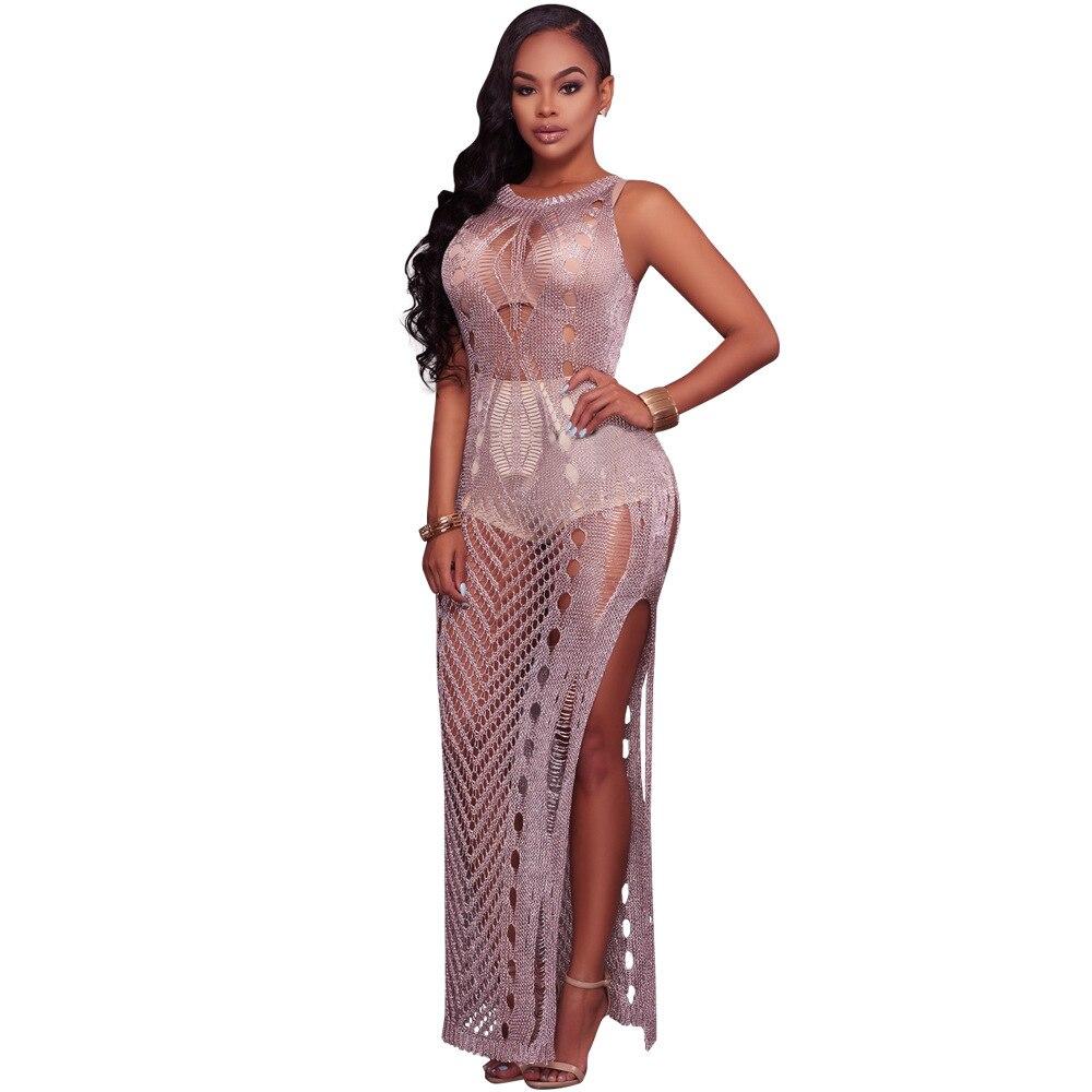 Vintage mesh transpent lace  Casual Beach dress 2018 fashion Knitted Sexy Hollow Women  sleeve dress Sexy split ruffle partÎäåæäà è àêñåññóàðû<br><br>