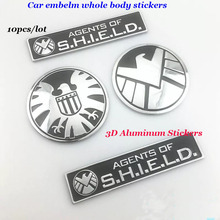 Wholesale 10pcs 7.5cm 3D Aluminum car emblem badge whole body stickers Agents of eagle logo styling motorcycle car decals model(China)