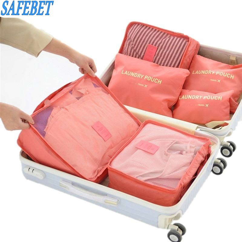 SAFEBET Brand 6PCS Summer Style Travel Storage Bag Set For Home Closet Divider Drawer Organiser Travel Clothes Classify Bags(China)