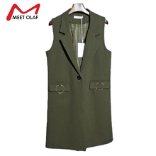 2017 Autumn Women Vests Long Single Button Female Sleeveless Blazers Jackets Ladies Suits Coat colete feminino Veste mujer Y1435(China)
