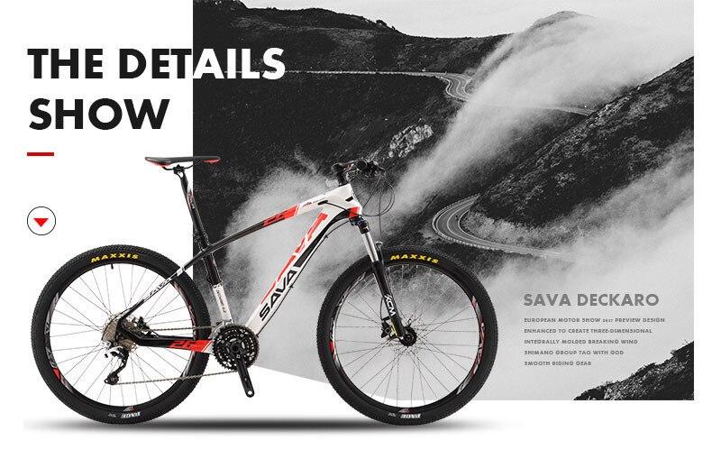 Sava Mens Mountain Bike Carbon Fiber Mountain Bike Carbon Mountainbikes Bicycle Mtb Bicycle 30 Speeds With Shimano Deore Bike