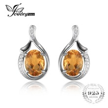 JewelryPalace Oval 2.3ct Yellow Genuine Citrine Earrings 925 Sterling Silver 2016 New Fashion Fine Jewelry For Women