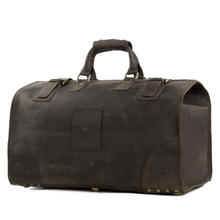 ROCKCOW Vintage Crazy Horse leather men travel bags big luggage & bags duffle bags Large tote 3151(China)