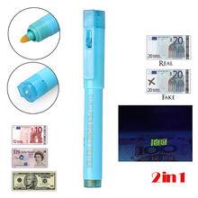 2in1 Useful UV Light Banknotes Detector Counterfeit Fake Forged Money Bank Note Checker Detector Tester Marker Pen