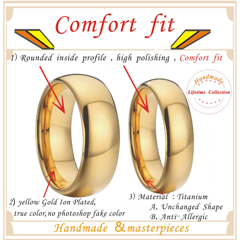 1 pair 8mm & 6mm gold plating titanium wedding bands couples rings sets for men and women alliance anel ouro size USA  5-151412-6mm-8mm-(1)
