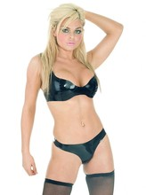 Special Offer In Stock Moulded Latex Thong Black Latex Briefs Black seamless Rubber T-Back Available in UK Sizes 10-14