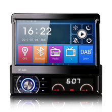 "7"" Single Din Car DVD 1 Din Car Navigation GPS One Din Car Radio with Motorized Retractable Monitor and Detachable Frontpanel(China)"