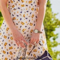 Shengke модные новые женские часы зеленый циферблат тонкий кожаный ремешок кварцевые наручные часы Простой дизайн Ультра тонкий корпус женски...