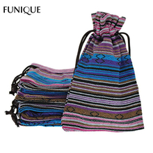 FUNIQUE 10x14cm Cotton Gift Bags 10Pcs Blue Stripes Tribal Tribe Ethnic Drawstring Bags Wedding Christmas Jewelry Pouches