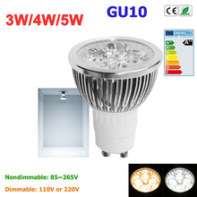 1pcs Super Bright 3W 4W 5W GU10 LED Bulbs Light 110V 220V Dimmable Led Spotlights warm/ cold white Natural White lamps(China)
