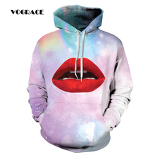VOGRACE Christmas Style Men/Women 3d Sportswear Sweatshirt Print Space Galaxy Red Lips Sexy Hoodie Hooded Dress Top Hoody Couple(China)