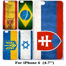 "Soft TPU Hard Plastic National Flag Cover For iPhone 6 Cases For iPhone6 4.7"" 5.5"" Cover Israel Pakistan Canada Brazil UK USA"
