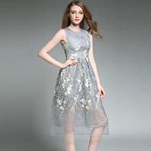 Summer Sleeveless Lace Embroidery Dress Womens Sexy Large Size New Arrival Slim Floral Fashion Casual Dresses