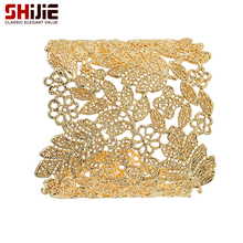 SHIJIE Gold/Silver color Cuff Bracelets & Bangles for Women Lovely Leaf Wide Big Bracelet Mens Fashion Jewelry Bijoux Femme Gift
