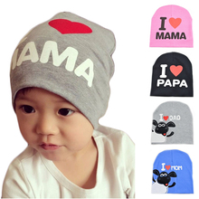 2017 Winter Autumn Baby Knitted Warm Cotton Beanie Baby winter Hat cap For Toddler Baby Kid Girl Boy MAMA Prints Baby Hat(China)