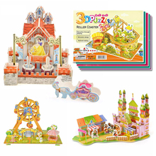 2016 New Hot sale Kids Educational Toys House Castle DIY 3D Jigsaw Puzzle For Children Adults 4 Models can choose for gift(China)