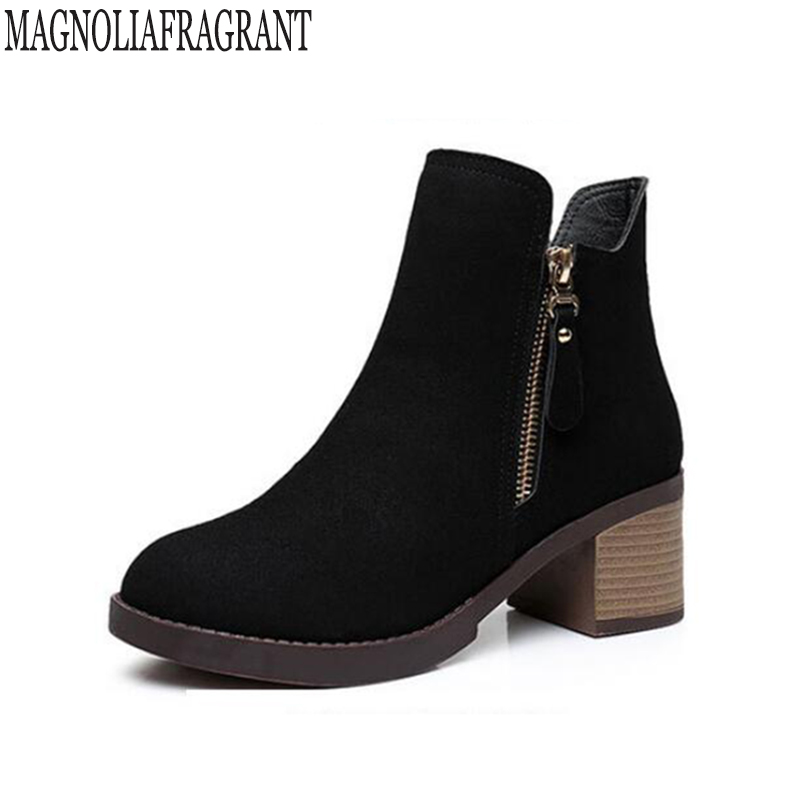 size 35-43 Autumn Winter Women Boots Casual Ladies shoes Martin boots Suede Leather ankle boots High heeled zipper Snow boot k48<br>