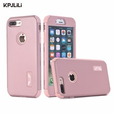 KPJLILI Original Brand Silicone Case for Apple iPhone 7 7 Plus Luxury Full Shockproof Soft Hard Plastic Combo Armor Back Cover