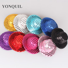 "Free shipping 4""(10cm) 9 color mini top fascinator hats,blingbling children party hats,24 pieces/lot MYQH015-1"