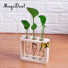 MagiDeal Crystal Glass Vase Test Tube in Wooden Stand for Flowers Plants Home Decoration Accessories(China)