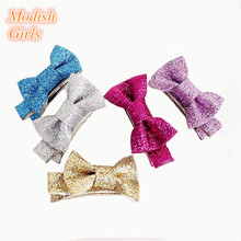 Modish Girls Free Shipping Wholesale Bestseller Glitter Felt Hair Clips Mini Size Silver Barrettes Gold Color Hairpins 20pcs/lot