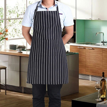 Hot Stripe Bib Apron with 2 Pockets Chef Waiter Kitchen Cook New Tool for Home Restaurant Free Shipping