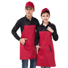 Contrast Color Long Style Halter Apron With Pocket Cotton Adjustable Sleeveless Strip Chef Aprons Universal Unisex Pinafore