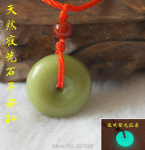 Natural Fluorite Luminous Stone Carved Round Safety Buckle Lucky Pendant + Rope Necklace Glow in Dark luminous stones Jewelry