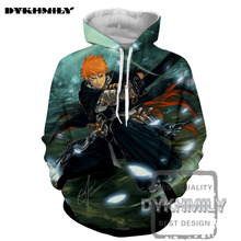 Dykhmily 2017 New Arrival Bleach Pull The Knife Relative Anime 3d Print Hooded Turn-down Collar Mens Hoodies And Sweatshirts(China)
