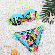 2017 Hot Sexy Push-up Bikini swimwear with  Floral Print  Low Waist pure swimwear free ship by China post FD81610