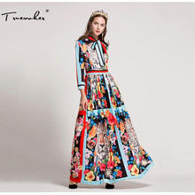 Truevoker Designer Long Dress Women's High Quality Bow Collar Colourful Fancy Flower Animal Printed Maxi Dress Plus Size 3XL
