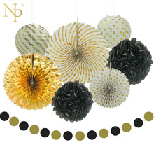 Nicro 8pcs New Year Mixed Gold Black White Party Paper Flower Lantern Tassel Garland DIY Baptism Party Decorative Supplies(China)