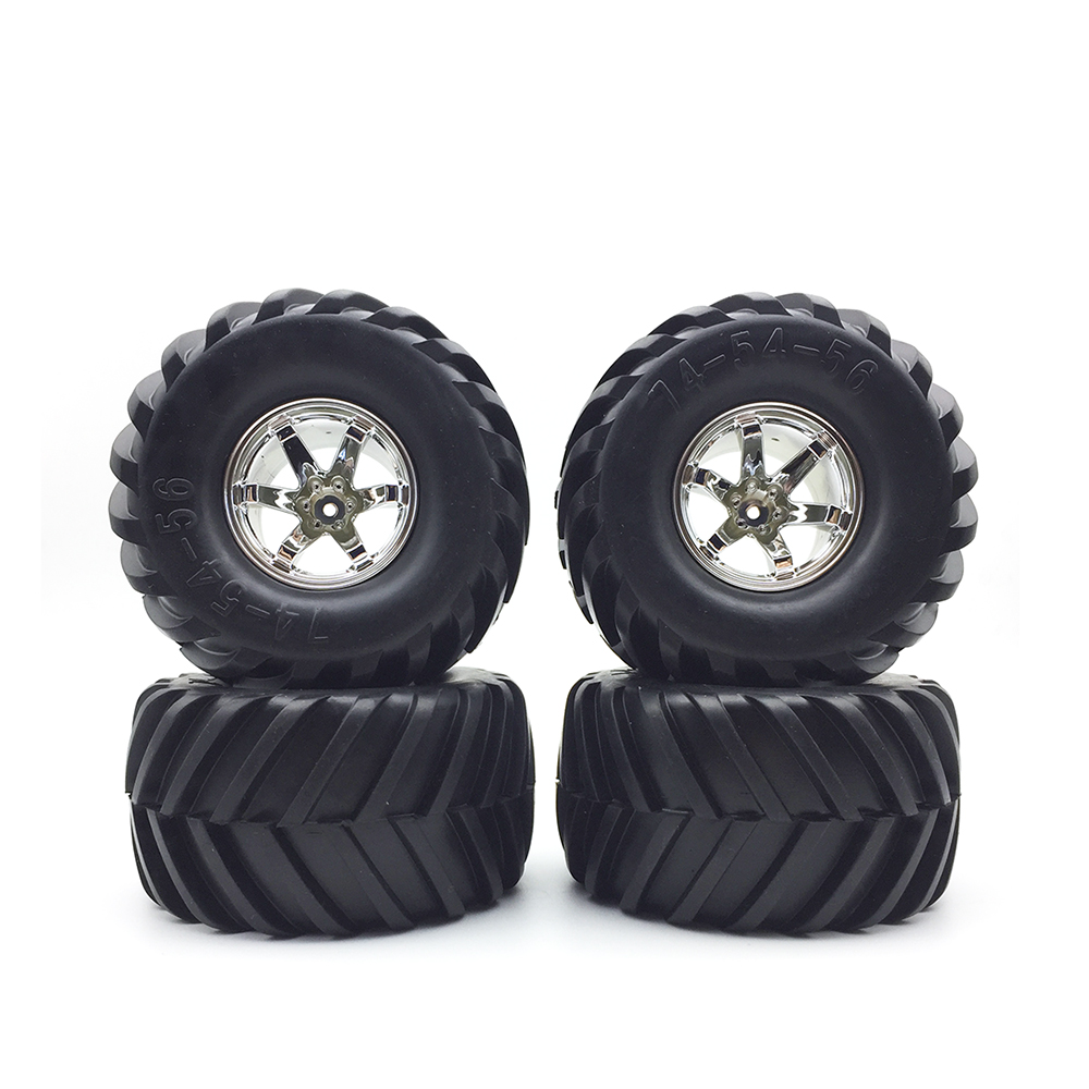 4PCS High Quality Wheel Rim Tires Set for 1:10 RC Monster Truck Traxxas Tamiya HSP HPI Kyosho 1/10 RC Car Tyre Parts<br>