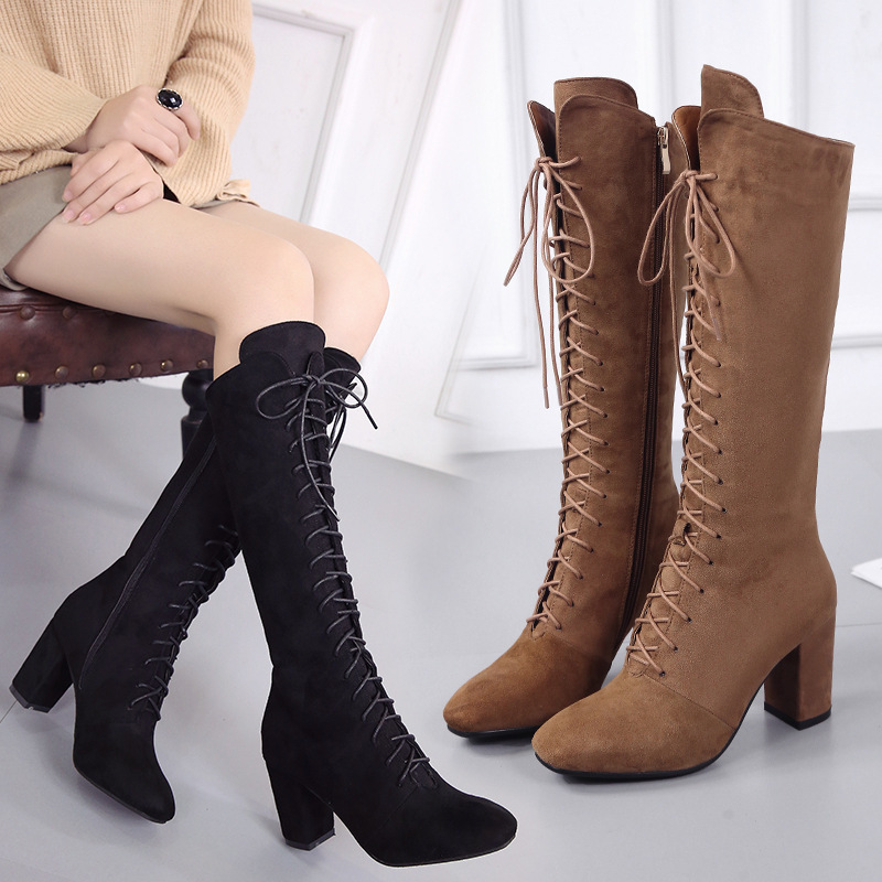 HIZCINTH 2017 New Brand Flock Knee-high Lace-up Motorcycle Boots Suede High Heels Long Boots Winter Warm Shoes Woman Botas<br>